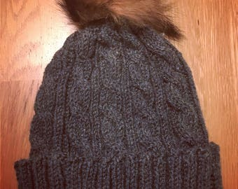 Ladies Soft Green Cable Knit Hat With Detachable Faux Fur Pom Pom - One Size