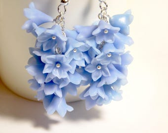 Bunch earrings, cornflower blue, earrings with blue flowers, flower bouquet earrings, flower earrings from polymer clay