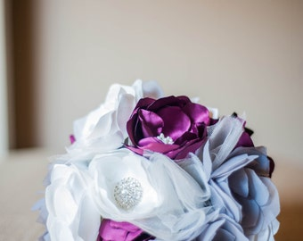 Handmade Fabric Bridal Bouquet in Cranberry, Gray and Ivory