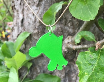 Bright green quad roller skate pendant