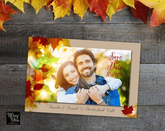 Fall Leaves Save the Date Custom Printable