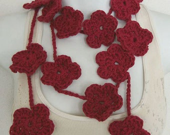 Crochet Flower Lariat Scarf PDF Pattern DIY  Instant Download