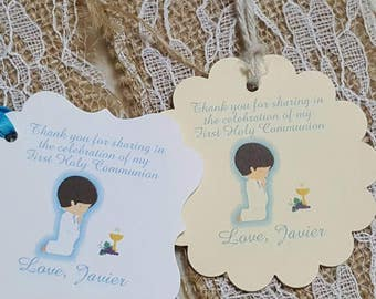 """Personalized Favor Tags 2 or 2x2"""" baptism tags, Thank You tags, Favor tags, Gift tags,Boy or girl first communion, first holy communion"""