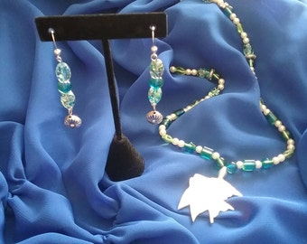 Fun Necklace & Earring Set Silver, Blue, Green, Pearls, MOP Fish
