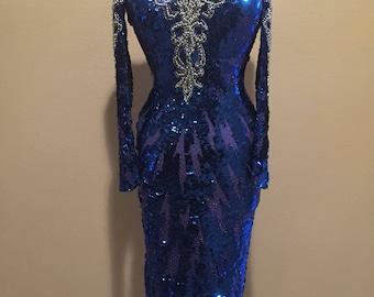 VTG Blue and Silver Beaded Sequin Dress // Embellished Cold Shoulder Dress