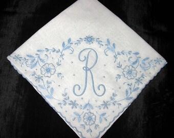 Handkerchief Wedding, Vintage Blue Monogrammed Hankie S F R A J B R G H L or M