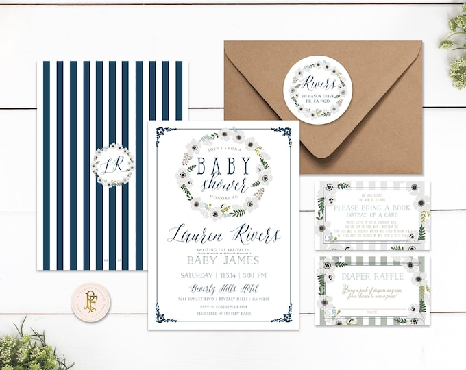 Printable invitations - baby shower invitation - navy blue floral invitation - calligraphy invitation - baby boy - freshmint paperie