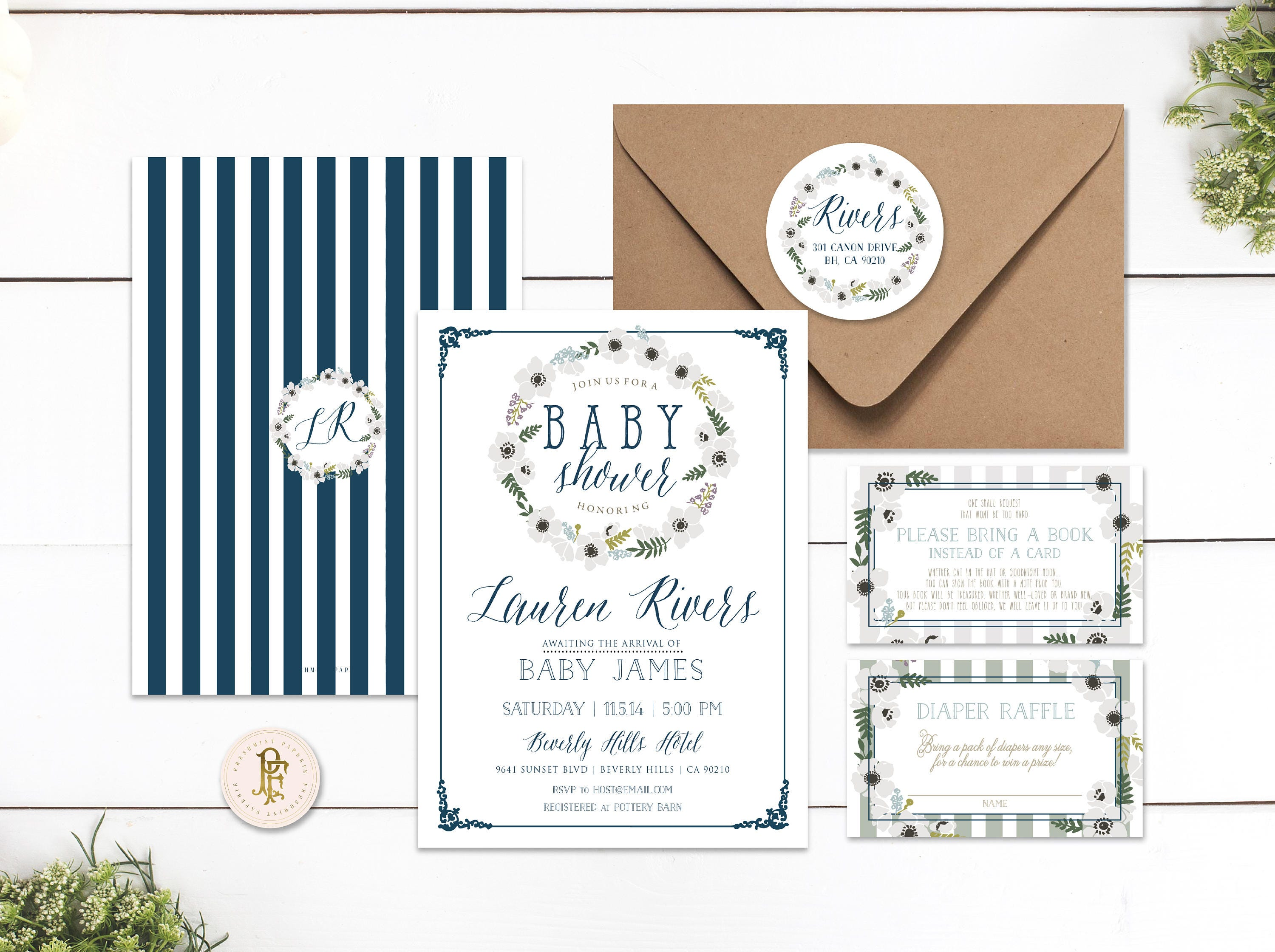 Printable invitations - baby shower invitation - navy blue floral ...