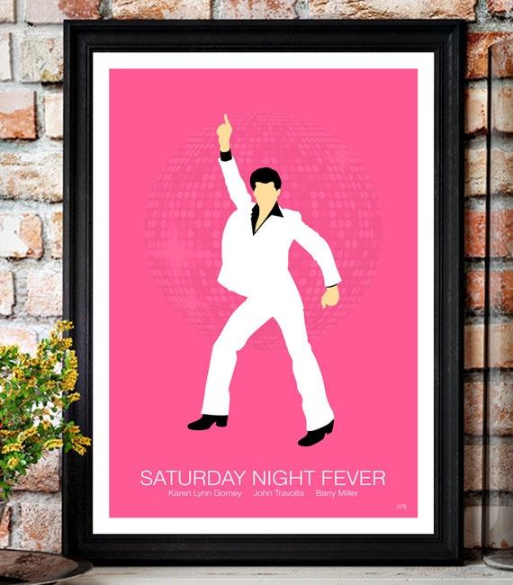 Saturday Night Fever // John Travolta // Minimalist Movie Poster // Unique Art Print