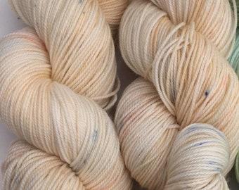 Speckled Sand hand dyed skein, apricot sock hand dyed skeins, fingering weight wool, superwash merino wool, wool, variegated yarn, g