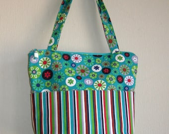 Handmade Purse, Canvas, With Coordinating Floral and Stripe
