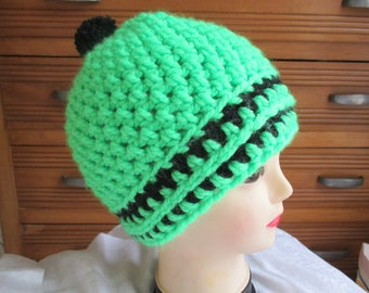 woolen men Hat neon green and black gift