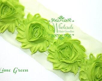 Shabby Flowers - LIME GREEN Shabby Rose Trim - Shabby Chic - Shabby Flower Trim - Diy Flowers