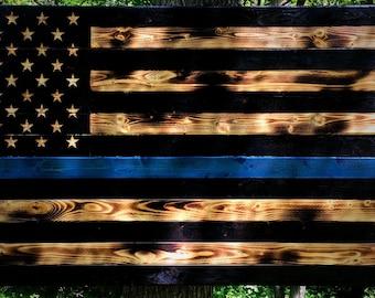 48x26 Thin Blue Line Wooden Flag, Police Flag, Law Enforcement Flag, Blue Line Flag, Charred Thin Blue Line Flag