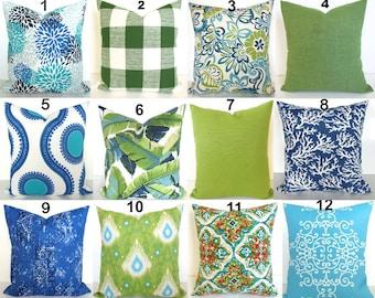 Green Outdoor Pillows Lime green Pillow Blue Outdoor Throw Pillow Covers Lime Teal Outdoor pillow Covers 16 18x18 20 Green Tropical Pillows