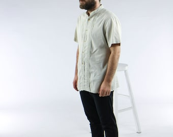 Short Sleeve Beige Shirt / Tuxedo Short Sleeve Shirt /  Nehru Mens Shirt