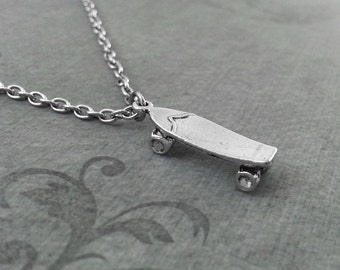 Skateboard Necklace, SMALL Skater Necklace, Skater Jewelry, Skater Gift, Skateboarding Gift, Silver Necklace, Skateboard Pendant Necklace
