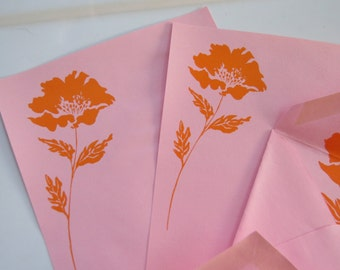 Vintage High Quality Watermarked NORCROSS Pink Stationery Sheets & Envelopes