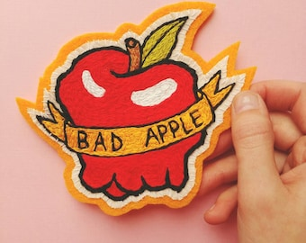 Bad Apple Hand Embroidered Patch