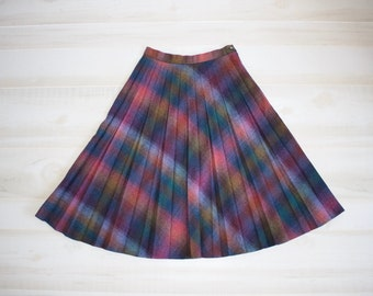 Vintage 70s Wool Skirt, 1970s Accordion Pleat Skirt, Plaid, High Waisted, A Line, Midi