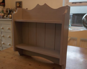 A Pine Kitchen Wall Hanging Shelf Unit painted in a Shabby Chic, Distressed Style.