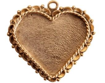 Große Herzen Lünette mit verzierten Rand - Herz-Spitzen-Rand - einzelne Schleife - Antik Gold - Antik Silber - hochwertige Verarbeitung
