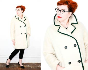 Vintage 1960s coat . Winter Bird .  white mohair coat . 1960s duffel coat by Natalie Green . md / lg