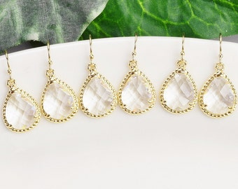 Bridal Party Jewelry SET OF 8 Clear Crystal Teardrop Earrings Gold Bridesmaid Earrings Wedding Party Jewelry for Bridesmaid Gifts