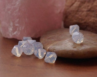 Bead, Swarovski® crystals, White opal, 8mm faceted bicone. Sold per pkg of 10.