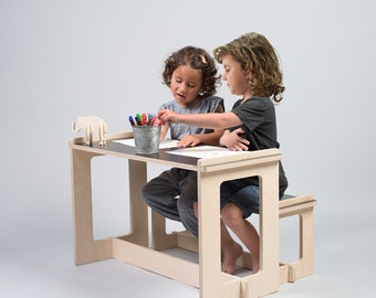 Black table and bench, kids play table, wood bench, kids table, toddler table and chairs set, kids furniture, nursery furniture, kids room
