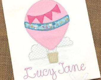 Hot Air Balloon Shirt / Hot Air Balloon Applique / Raggy Hot Air Balloon / Personalized Girl Balloon Shirt / Birthday Balloon Shirt
