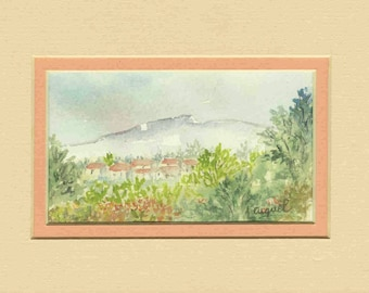 Provence - Original watercolor with passe partout