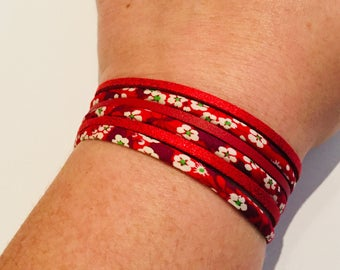 Bracelet Liberty floral and suede