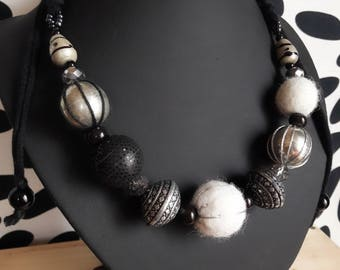 Adjustable necklace wool felted black grey white beads