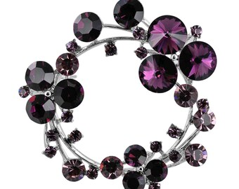 Austrian Crystal Flower Wreath Brooch Pin purple / Free Gift Box(MIBR147-PU)