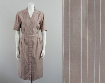 "80s Vintage Tan Pinstripe Blouse and Pleated Skirt Set (M; 28 1/2"" Waist)"