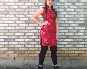 Red Satin Embroidered Asian Style Dress