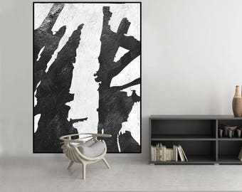 extra large wall art, original abstract painting, black and white wall art painting, extra large canvas art, Contemporary Painting