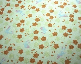 SALE Japanese Fabric Rabbit Cherry Blossom Ivory  Fat Quarter