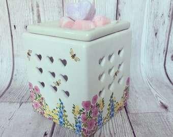 Bees and Flowers wax burner - hand decorated, wax melts, fragrance oil, oil burner.
