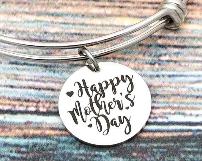 Happy Mothers Day Customizable Expandable Bangle Charm Bracelet, choose your charms, create your style, design your bracelet,