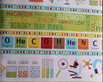 Northcott Little Genius White Science Stripe Boarder Chemistry Biology Physics 21531-11
