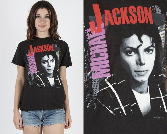 Michael Jackson T Shirt Michael Jackson Tee Bad Tour King Of Pop Vintage 80s Band Tee Concert Shirt Pop Rock Black Unisex Tee T Shirt M by Etsy