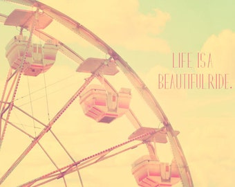 Carnival Nursery Decor, Ferris Wheel Photography, shabby chic, nursery wall art, vintage circus, soft pastels, text, typography, quote, fPOE