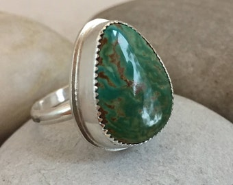 Turquoise Ring, Size 10, Sterling Silver, Kingman, Green, December Birthstone, Rustic, Boho, Gypsy, Earthy,  Ask me to resize to larger