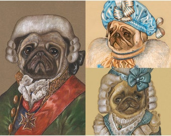 Pug Family - 3 Art Prints - the Hero, Lady Azure & Lady Baby - Dogs in Clothes - Funny Pet Portraits by Maria Pishvanova
