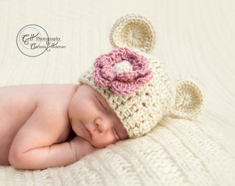 Toddler Hat, Crochet Beanie Hat with Ears, Toddler Beanie Hat, Oatmeal and Rose Pink , Girl Hat, 12-24 months, 2-4T or 5T, Made To Order