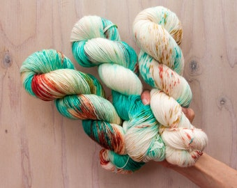 PRE ORDER, Hand dyed yarn, sock yarn, single ply yarn, blue yarn, speckled yarn, coral yarn, variegated yarn, merino yarn, superwash yarn,