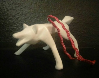 White geometric cast wolf ornament, Christmas, holiday