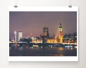 london photograph london print london decor england photograph night photograph river thames photograph big ben photograph english decor